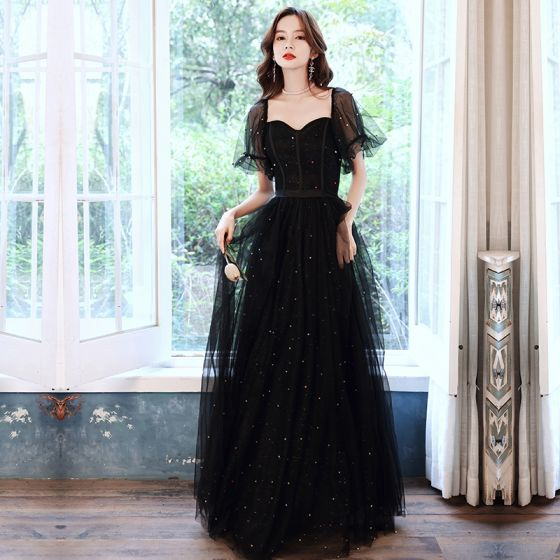Wiktoriański Styl Czarne Taniec Sukienki Na Bal 2021 Princessa Kwadratowy Dekolt Bufiasta Kótkie Rękawy Frezowanie Perła Cekinami Tiulowe Długie Wzburzyć Bez Pleców Sukienki Wizytowe