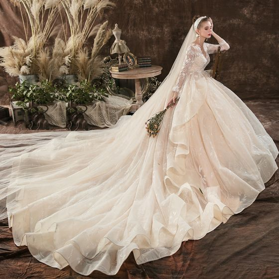 Charming Champagne Wedding Dresses Ball Gown 2020 V-Neck Beading Sequins Lace Flower Long Sleeve Backless Cathedral Train
