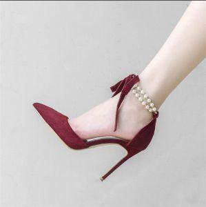 Sexy Burgunderrot Abend Sandalen Damen 2020 Perle Knöchelriemen 10 cm Stilettos Spitzschuh Sandaletten