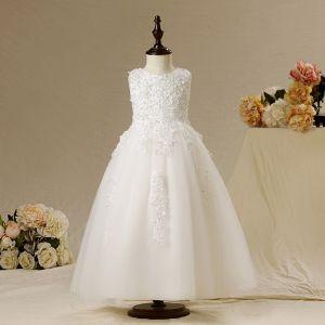 Schöne Kirche Kleider Für Hochzeit 2017 Mädchenkleider Weiß A Linie Lange Rundhalsausschnitt Ärmellos Mit Spitze Applikationen Perle Pailletten