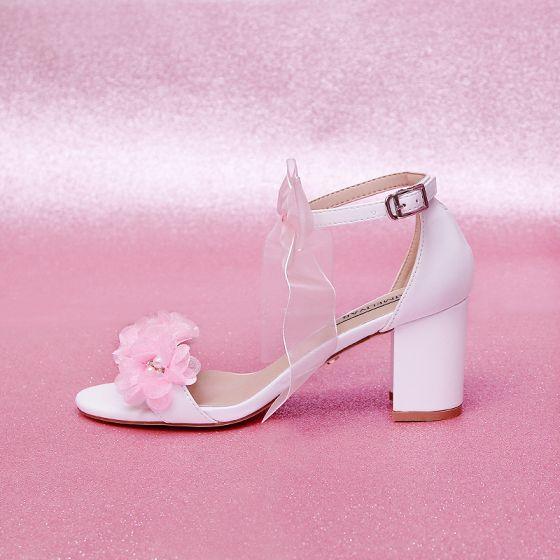Piękne Rumieniąc Różowy Buty Ślubne 2020 Z Paskiem Kokarda Kwiat 7 cm Grubym Obcasie Peep Toe Ślub Sandały