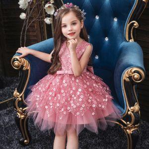 Niedrogie Cukierki Różowy Urodziny Sukienki Dla Dziewczynek 2020 Suknia Balowa Wycięciem Bez Rękawów Aplikacje Z Koronki Kwiat Frezowanie Perła Krótkie Wzburzyć