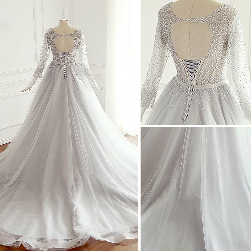 Luxury / Gorgeous Grey Prom Dresses 2018 A-Line / Princess Bow Handmade  Beading Sequins Scoop Neck Backless Long Sleeve Chapel Train Formal Dresses
