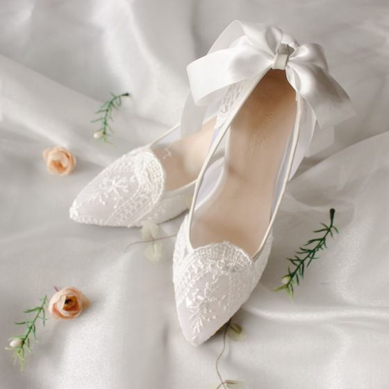 Elegant Ivory Lace Wedding Shoes 2020 Bow 6 cm Stiletto Heels Pointed Toe Wedding Pumps
