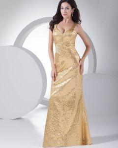 Mode Pailletten Seide Wie Satin Trägern Bodenlangen Abendkleid