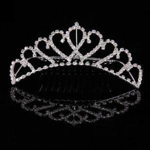 Issuing Clear Crystal Flower Tiara Rhinestone Crown