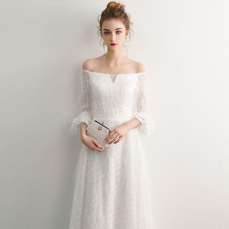 Elegante Ivory / Creme Abendkleider 2019 A Linie Off Shoulder Quaste 3/4 Ärmel Rückenfreies Lange Festliche Kleider