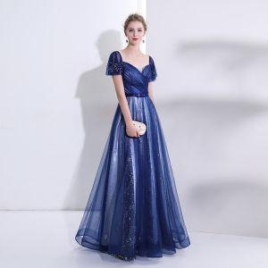 Elegante Königliches Blau Abendkleider 2018 A Linie Kristall Strass Pailletten Star Herz-Ausschnitt Rückenfreies Kurze Ärmel Lange Festliche Kleider