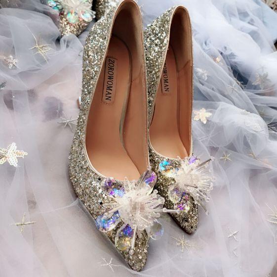 Glitzernden Champagner Handgefertigt Kristall Brautschuhe 2019 Pailletten Strass 8 cm Stilettos Spitzschuh Hochzeit Pumps