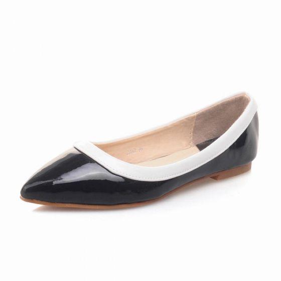 9cbd39297d813e Schicke Schwarze Lack Pumps Frauen Flache Schuhe