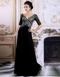 V-cou Paillettes De Luxe 1/2 Manches Robe Longue De Soirée Noire