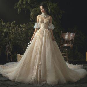 Luxus / Herrlich Champagner Brautkleider / Hochzeitskleider 2019 A Linie Spitze Perlenstickerei Kristall Bandeau Rückenfreies Ärmellos Kathedrale Schleppe