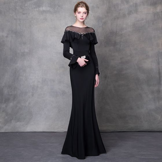 Elegant Black Evening Dresses  2018 Trumpet / Mermaid Crystal Rhinestone Sash Scoop Neck Long Sleeve Sweep Train Formal Dresses