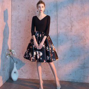 Chic / Belle Noire Robe De Fete 2019 Princesse V-Cou Noeud Impression 3/4 Manches Dos Nu Courte Robe De Ceremonie