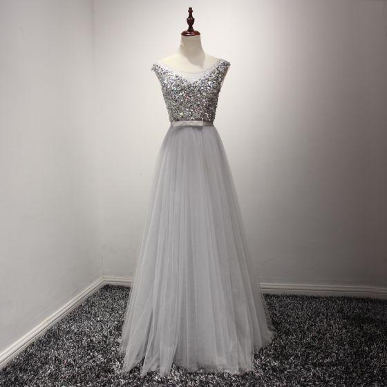 Modern / Fashion Grey Evening Dresses  2017 A-Line / Princess Floor-Length / Long Cascading Ruffles Scoop Neck Sleeveless Backless Rhinestone Crystal Pearl Glitter Sequins Bow Sash Formal Dresses