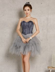 Robe De Cocktail Sexy 2016 Sweetheart Appliques Plumes Tulle Gris Robe Courte