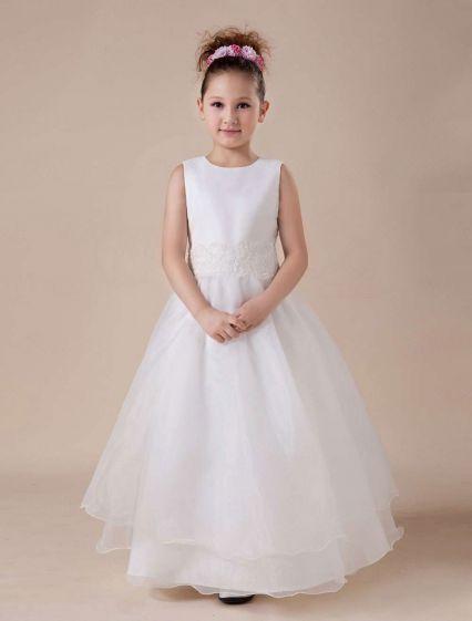 Vestidos Para Niñas De Las Flores Apliques Blanco Sin Mangas De Encaje Paillette
