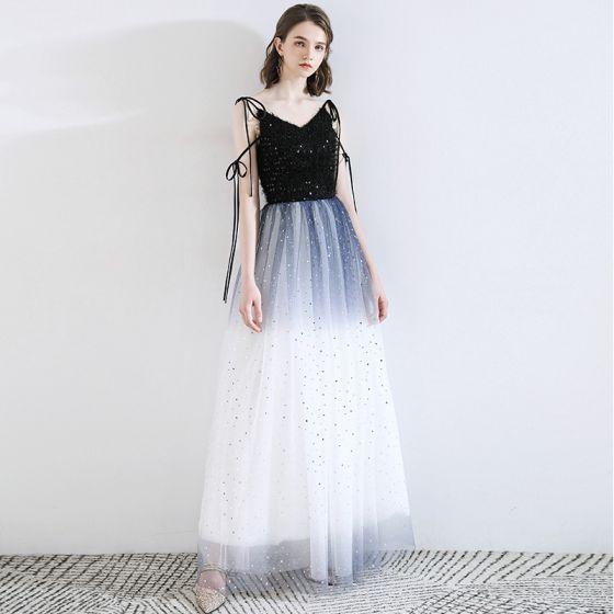 Fashion Ocean Blue Evening Dresses  2020 A-Line / Princess Spaghetti Straps Tassel Star Sequins Sleeveless Backless Floor-Length / Long Formal Dresses