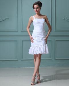 Tafty Wzburzyc Jedno Ramie Kochanie Mini Suknie Ślubne Krótkie Sukienki Ślubne