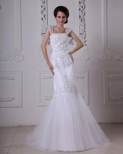 Stylish Sweep Satin Lace Square Mermaid Wedding Dress