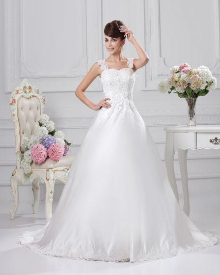 Kvadrat Golv Langd Applikationer Beading Satin Balklänning Brudklänningar Bröllopsklänningar