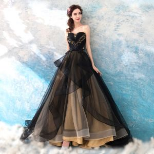 Chic / Beautiful Black 2018 Prom Dresses A-Line / Princess Tulle Floor-Length / Long Winter Strapless Beading Appliques Backless Evening Party Prom Formal Dresses