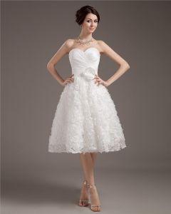 Elegant Kurzen Mini Satin Spitze Sweetheart Hochzeitskleid