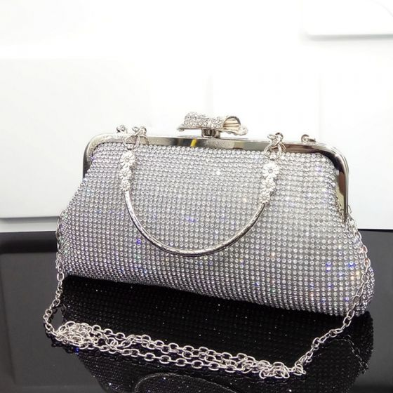 Modern / Fashion Bling Bling Silver Beading Rhinestone Cocktail Party Evening Party Clutch Bags 2018