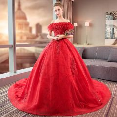 Charming Red Wedding Dresses 2019 Ball Gown Off-The-Shoulder Lace Sequins Appliques Tassel Short Sleeve Backless Cathedral Train