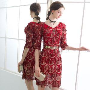Bling Bling Burgundy Party Dresses 2018 V-Neck 1/2 Sleeves Metal Sash Beading Sequins Tassel Short Formal Dresses