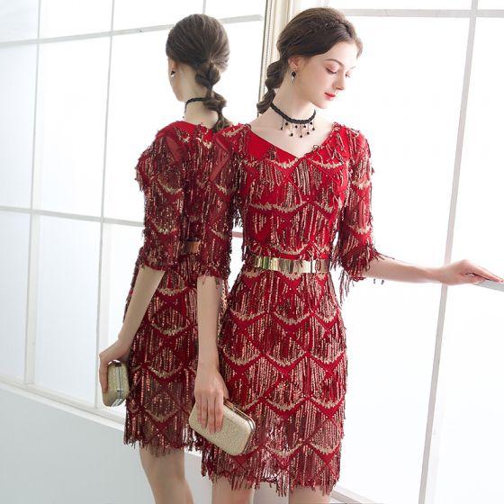 10024b18a3904 Bling Bling Burgundy Party Dresses 2018 V-Neck 1/2 Sleeves Metal Sash  Beading Sequins Tassel Short Formal Dresses