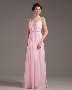 Chiffon Ruffle Beading V Neck Floor Length Prom Dress