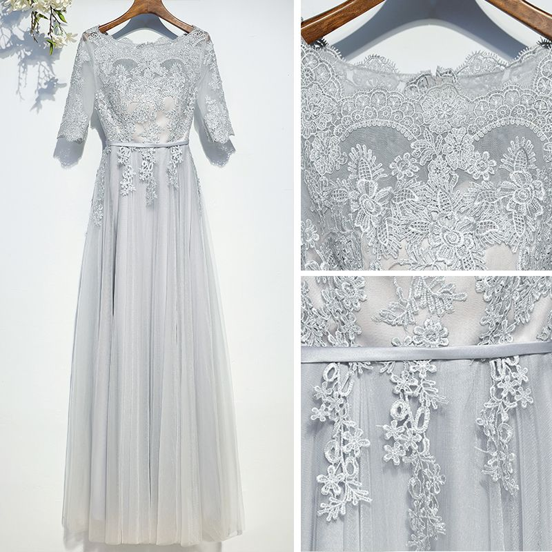 Modest / Simple Grey Bridesmaid Dresses 2017 Lace Flower Strappy Scoop Neck Ankle Length A-Line / Princess Wedding Party Dresses