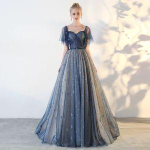 Elegant Mørk Marineblå Ballkjoler 2018 Prinsesse Stjerne Ryggløse Firkantet Hals Korte Ermer Lange Formelle Kjoler