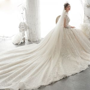 Luxury / Gorgeous Champagne See-through Bridal Wedding Dresses 2020 Ball Gown High Neck 3/4 Sleeve Backless Appliques Lace Sequins Beading Cathedral Train Ruffle