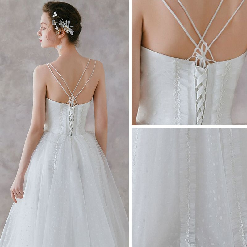Chic / Beautiful Ivory Beach Wedding Dresses 2019 A-Line / Princess Spaghetti Straps Sleeveless Backless Spotted Tulle Floor-Length / Long Ruffle