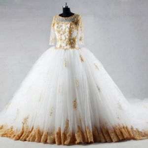 Luxury / Gorgeous Ivory Chapel Train Wedding 2018 Ball Gown Lace-up U-Neck Tulle Appliques Backless Beading Sequins Wedding Dresses