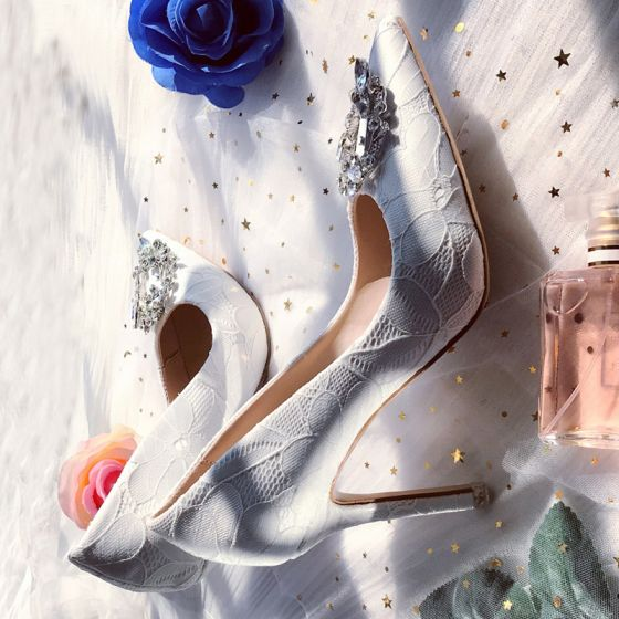 Chic / Belle Blanche Mariage Demoiselle D'honneur Escarpins 2019 Dentelle Faux Diamant 7 cm Talons Aiguilles À Bout Pointu Chaussures Femmes