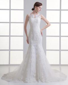 Tulle Applique V-ausschnitt Gericht Zug-hochzeitskleid Brautkleider