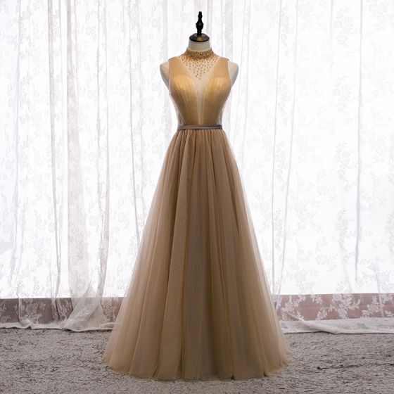 Charming Champagne Evening Dresses  2020 A-Line / Princess High Neck Beading Crystal Sleeveless Backless Floor-Length / Long Formal Dresses