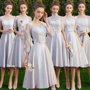 Affordable Grey Satin See-through Bridesmaid Dresses 2019 A-Line / Princess Appliques Lace Bow Sash Short Ruffle Backless Wedding Party Dresses