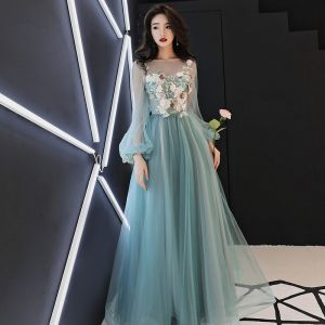 Flower Fairy Jade Green See-through Evening Dresses  2018 A-Line / Princess Scoop Neck Puffy Long Sleeve Appliques Flower Pearl Rhinestone Floor-Length / Long Ruffle Backless Formal Dresses