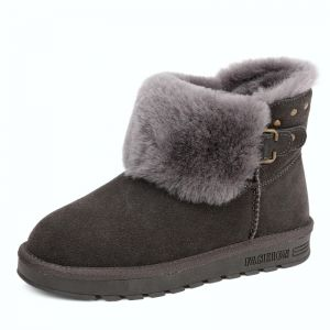 Modern / Fashion Womens Boots 2017 Grey Leather Ankle Suede Buckle Rivet Casual Winter Flat Snow Boots