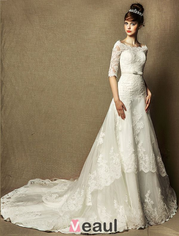 A-line Square Neck Appliques Lace Sash Ivory Wedding Dress 2015