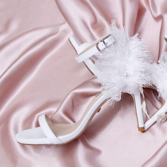 Charmant Ivoor Gala Sandalen Dames 2020 Kant Parel 9 cm Naaldhakken / Stiletto Peep Toe Sandalen