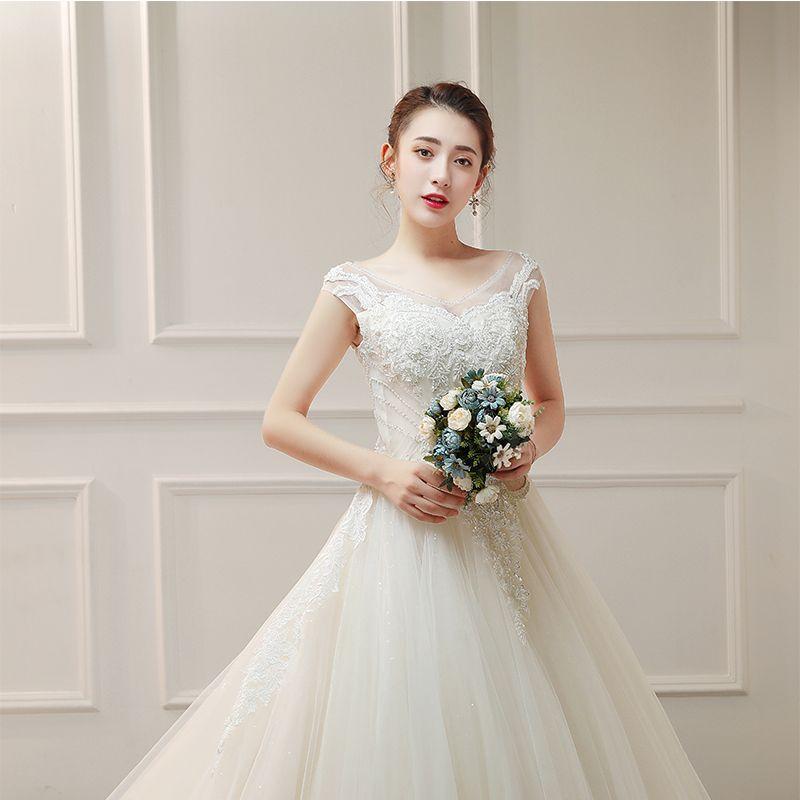 Elegant Ivory Wedding Dresses 2019 A-Line / Princess V-Neck Sleeveless Backless Appliques Lace Beading Glitter Tulle Ruffle Chapel Train