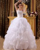 Satin Organza Beading Sweetheart Floor Length Ball Gown Wedding Dresses
