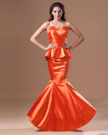 Charmeuse Ruffle Sweetheart Floor Length Mermaid Prom Dress