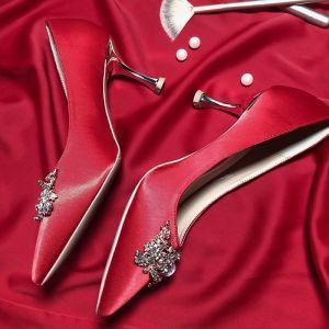 Mooie / Prachtige Rode Rhinestone Bruidsschoenen 2020 Leer 7 cm Naaldhakken / Stiletto Spitse Neus Huwelijk Pumps