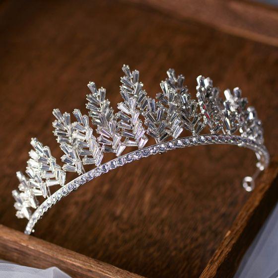 Snygga / Fina Silver Tiara Brud Huvudbonad 2020 Legering Rhinestone Bröllop Tillbehör